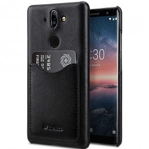 Melkco Premium Leather Card Slot Back Cover Case for Nokia 8 Sirocco - (Black) Ver.2