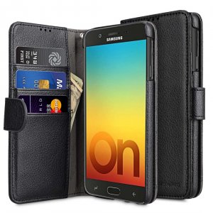 Melkco PU Leather Wallet Book Type Case for Samsung Galaxy On7 Prime (2018) - (Black LC)