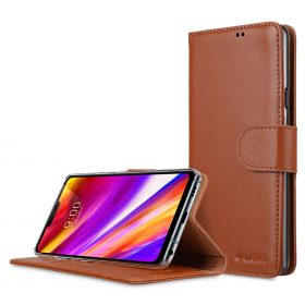 Melkc Premium Leather  Case for LG G7 ThinQ / G7+ ThinQ – Wallet Book Clear Type Stand (Black)