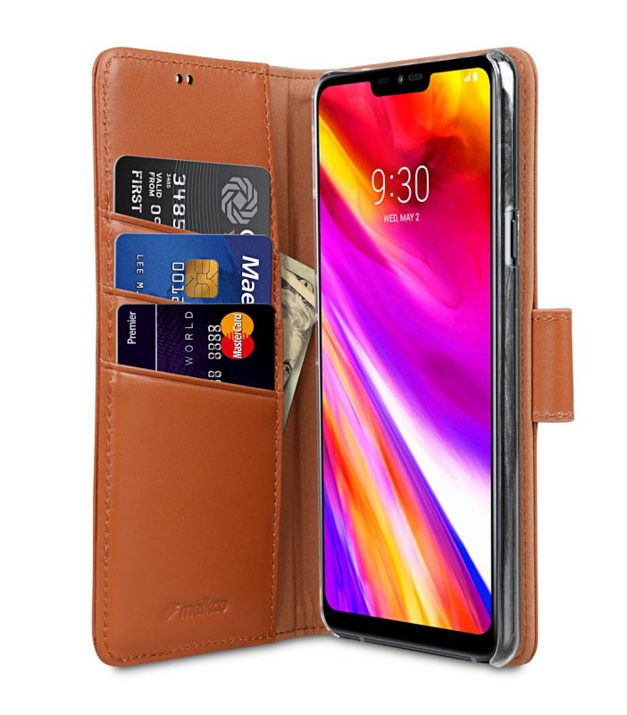 Melkc Premium Leather Case for LG G7 ThinQ / G7+ ThinQ - Wallet Book Clear Type Stand (Black)
