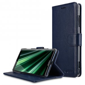 Melkco Premium Leather Case for Sony Xperia XZ3 - Wallet Book Clear Type Stand (Dark Blue)