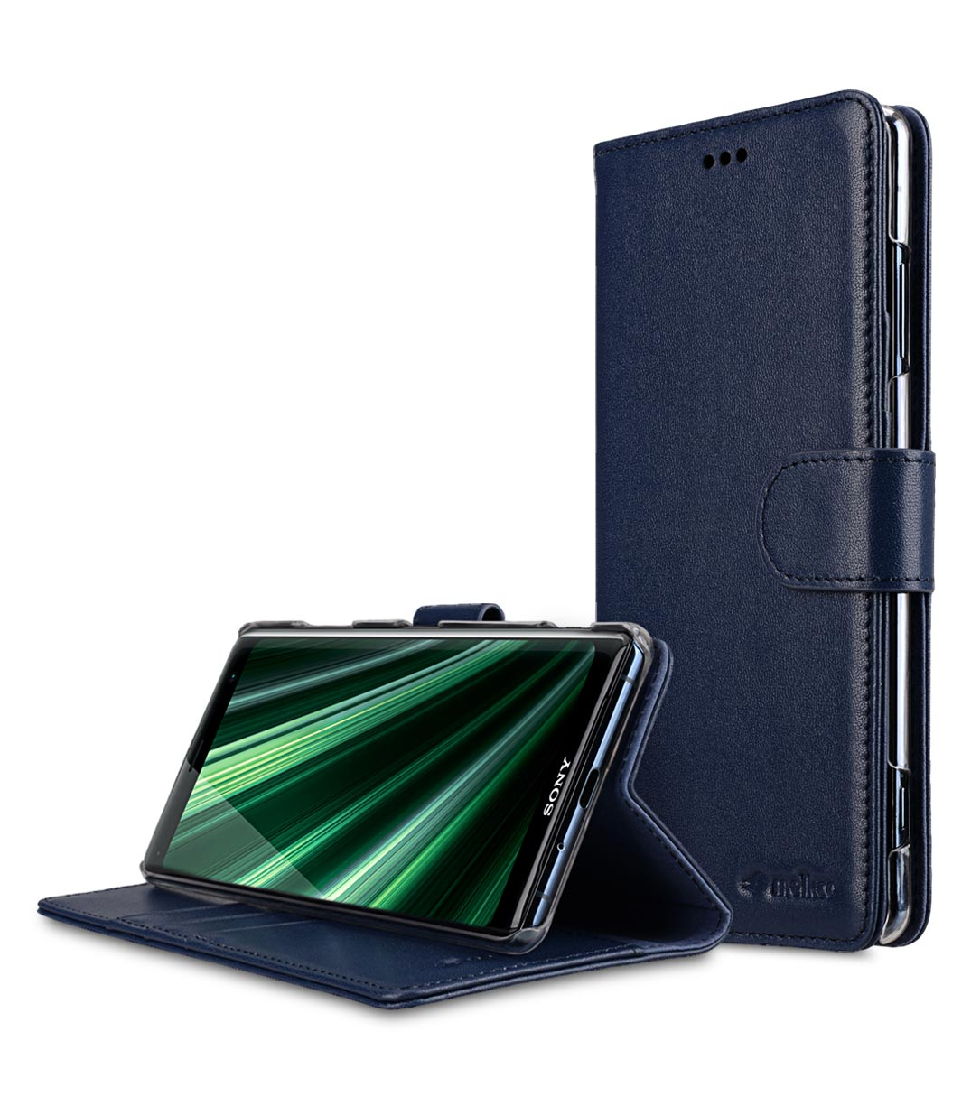 best service 34ee5 272e9 Premium Leather Case for Sony Xperia XZ3 - Wallet Book Clear Type Stand  (Dark Blue)
