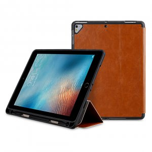 Melkco Mini PU Cases Slim cover with Pen slot for iPad Air /Air 2/Pro 9.7 /new iPad 2017/2018- Brown PU