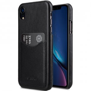 Melkco Premium Leather Card Slot Back Cover Case for Apple iPhone XR - (Black)Ver.2