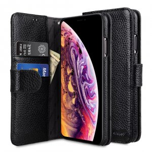 "Melkco Premium Leather Case for Apple iPhone X Plus (6.5"") - Wallet Book Type (Black LC)"