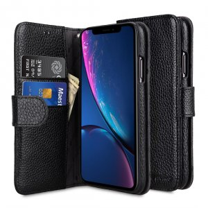 Melkco Premium Leather Case for Apple iPhone XR - Wallet Book Type (Black LC)