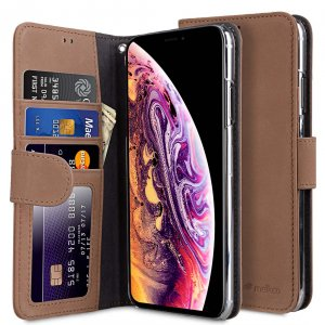 Melkco Premium Leather Case for Apple iPhone XS Max - Wallet Book ID Slot Type (Classic Vintage Brown)
