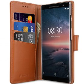 Melkco Premium Leather  Case for Nokia 8 Sirocco – Wallet Book Clear Type Stand (Brown CH)
