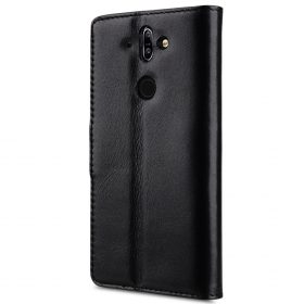 Melkco Premium Leather  Case for Nokia 8 Sirocco – Wallet Book Clear Type Stand (Black)