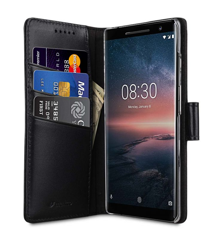 Melkco Premium Leather Case for Nokia 8 Sirocco - Wallet Book Clear Type Stand (Black)