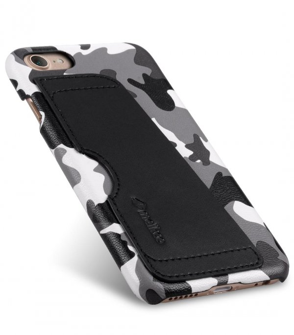 """Melkco Fashion European Series (Camouflage Collection) PU Leather Card Slot Snap Cover for Apple iPhone 7 / 8 (4.7"""") - Black"""
