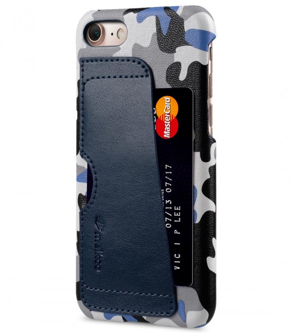 """Melkco Fashion European Series (Camouflage Collection) PU Leather Card Slot Snap Cover for Apple iPhone 7 / 8 (4.7"""") - Dark Blue"""