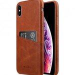 Melkco Elite Series Waxfall Pattern Premium Leather Coaming Pocket Case for Apple iPhone XS Max - ( Tan WF )