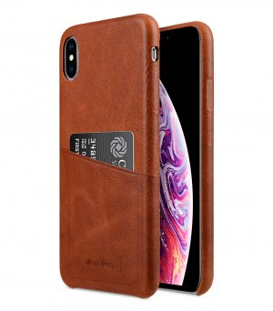 Melkco Elite Series Waxfall Pattern Premium Leather Coaming Pocket Case for Apple iPhone XS Max - ( Tan WF )