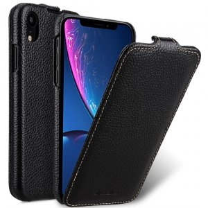 Melkco Jacka Series Lai Chee Pattern Premium Leather Jacka Type Case for Apple iPhone XR - ( Black LC )