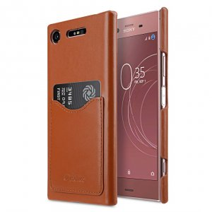 Melkco Premium Leather Card Slot Cover Case for Sony Xperia XZ1 - (Brown CH)Ver.2
