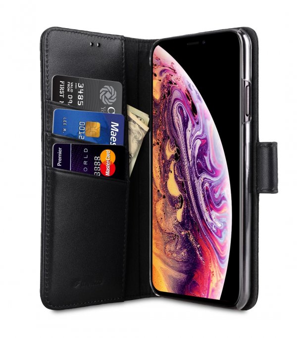 Melkco Premium Leather Case for Apple iPhone XS Max - Wallet Book Clear Type Stand (Black)