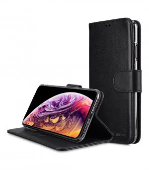 Premium Leather Case for Apple iPhone XS Max - Wallet Book Clear Type Stand