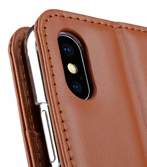 Melkco Premium Leather Case for Apple iPhone XS Max - Wallet Book Clear Type Stand (Brown CH)