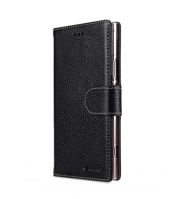 Melkco Wallet Book Series Lai Chee Pattern Premium Leather Wallet Book Clear Type Stand Case for Sony Xperia XZ1 - ( Black LC )