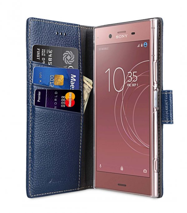 Melkco Wallet Book Series Lai Chee Pattern Premium Leather Wallet Book Clear Type Stand Case for Sony Xperia XZ1 - ( Dark Blue LC )