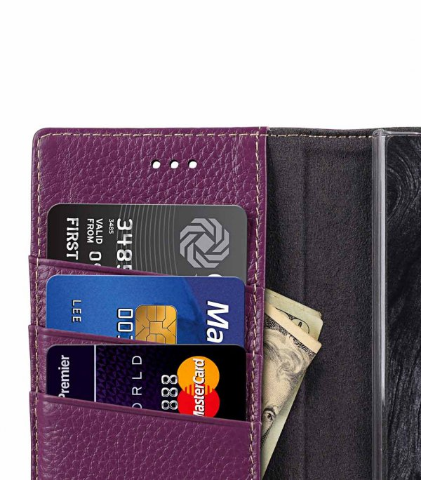 Melkco Wallet Book Series Lai Chee Pattern Premium Leather Wallet Book Clear Type Stand Case for Sony Xperia XZ1 - ( Purple LC )