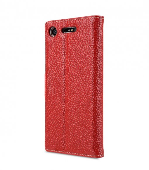 Melkco Wallet Book Series Lai Chee Pattern Premium Leather Wallet Book Clear Type Stand Case for Sony Xperia XZ1 - ( Red LC )