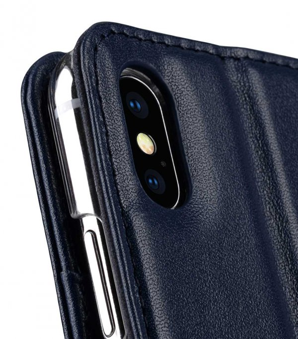 Melkco Premium Leather Case for Apple iPhone XS Max - Wallet Book Clear Type Stand (Dark Blue)