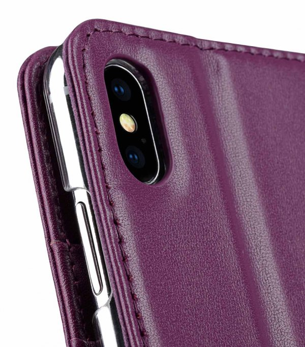 Melkco Premium Leather Case for Apple iPhone XS Max - Wallet Book Clear Type Stand (Purple)