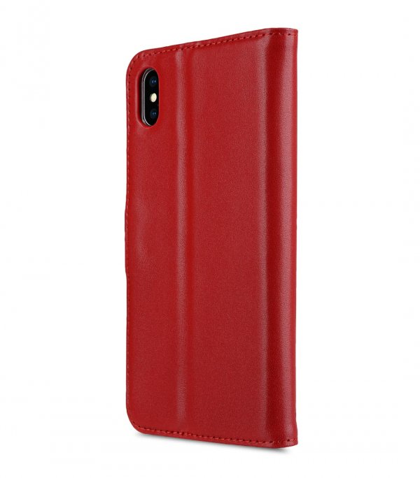 Melkco Premium Leather Case for Apple iPhone XS Max - Wallet Book Clear Type Stand (Red)