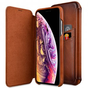 "Melkco Elite Series Premium Leather Face Cover Back Slot Case for Apple iPhone XS Max (6.5"") - ( Tan )"