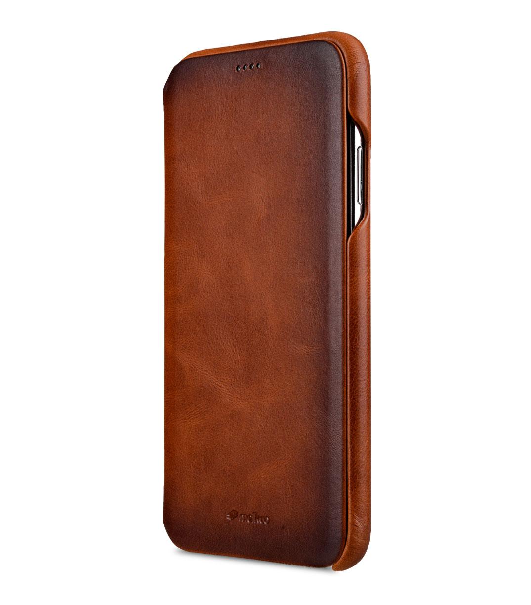 "Melkco Elite Series Premium Leather Face Cover Back Slot Case for Apple iPhone XS Max (6.5"") - ( Tan )"