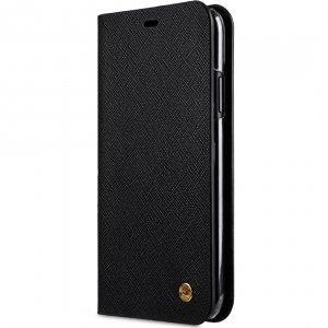 Melkco Fashion Cocktail Series Cross Pattern Premium Leather Slim Flip Type Case for Apple iPhone XR - (Black CP)