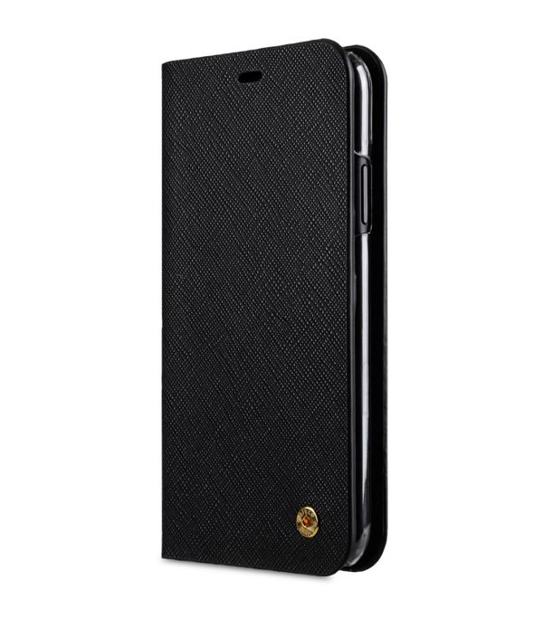 Melkco Fashion Cocktail Series Cross Pattern Premium Leather Slim Flip Type Case for Apple iPhone XR - (Black CP)