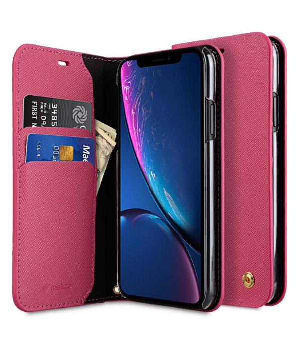 Melkco Fashion Cocktail Series Cross Pattern Premium Leather Slim Flip Type Case for Apple iPhone XR - (Peach CP)