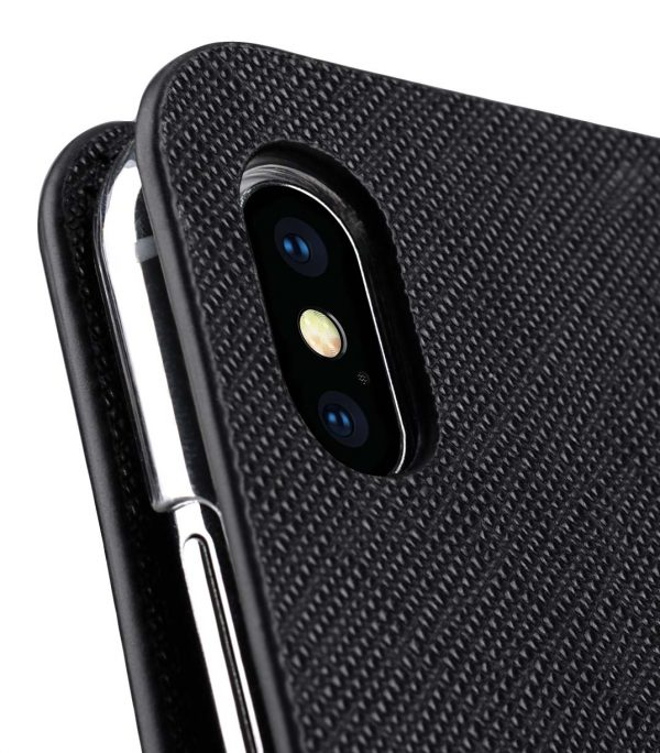 Melkco Fashion Cocktail Series Cross Pattern Premium Leather Slim Flip Type Case for Apple iPhone XS Max - ( Black CP )