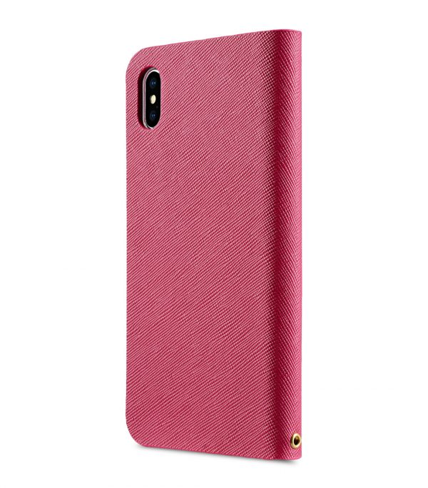 Melkco Fashion Cocktail Series Cross Pattern Premium Leather Slim Flip Type Case for Apple iPhone XS Max - ( Peach CP )