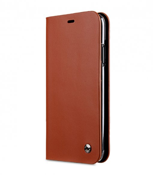 Melkco Fashion Cocktail Series Premium Leather Slim Flip Type Case for Apple iPhone XR - (Orange Brown)