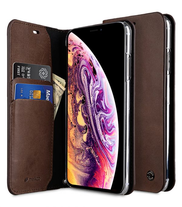 Melkco Fashion Cocktail Series Premium Leather Slim Flip Type Case for Apple iPhone XS Max - ( Brown )