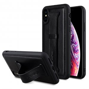 Melkco Origin Series Premium Leather Arched-Back Cover Case for Apple iPhone X / XS - ( Black )