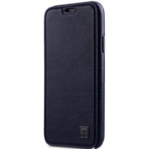 Melkco Origin Series Premium Leather Regal Face Cover Case for Apple iPhone X / XS - ( Dark Blue )