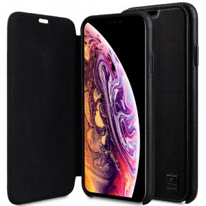 "Melkco Origin Series Premium Leather Regal Face Cover Case for Apple iPhone XS Max (6.5"") - ( Black )"