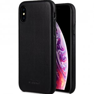 Melkco Origin Series Premium Leather Regal Snap Cover Case for Apple iPhone X / XS - ( Black )