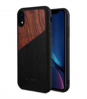 "Melkco Origin Series Premium Leather Woodies Snap Cover Case for Apple iPhone XR (6.1"") - ( Black )"