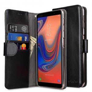 Melkco PU Leather Wallet Book Clear Type Case for Samsung Galaxy A7 (2018) - (Black)