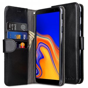 Melkco PU Leather Wallet Book Clear Type Case for Samsung Galaxy J4 Plus - (Black)