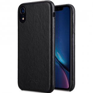 Melkco Elite Series Waxfall Pattern Premium Leather Coaming Snap Cover Case for Apple iPhone XR - (Black WF)