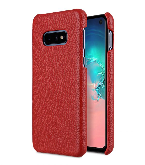 Melkco Back Snap Series Lai Chee Pattern Premium Leather Snap Cover Case for Samsung Galaxy S10e - ( Red LC )