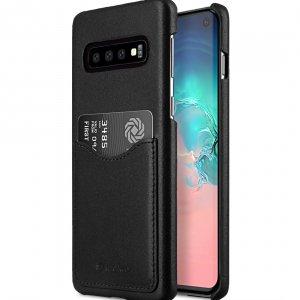 Melkco Back Snap Series Premium Leather Card Slot Back Cover V2 Case for Samsung Galaxy S10 - ( Black )