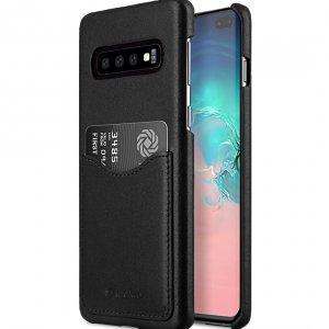 Melkco Back Snap Series Premium Leather Card Slot Back Cover V2 Case for Samsung Galaxy S10+ - ( Black )